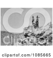 3 Crow Indians On Cliff Free Historical Stock Photography