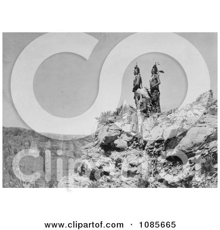 3 Crow Indians on Cliff - Free Historical Stock Photography by JVPD