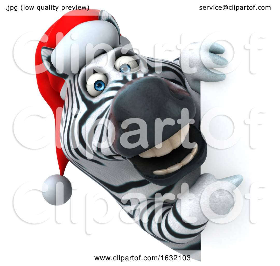 3d Christmas Zebra, on a White Background by Julos #1632103