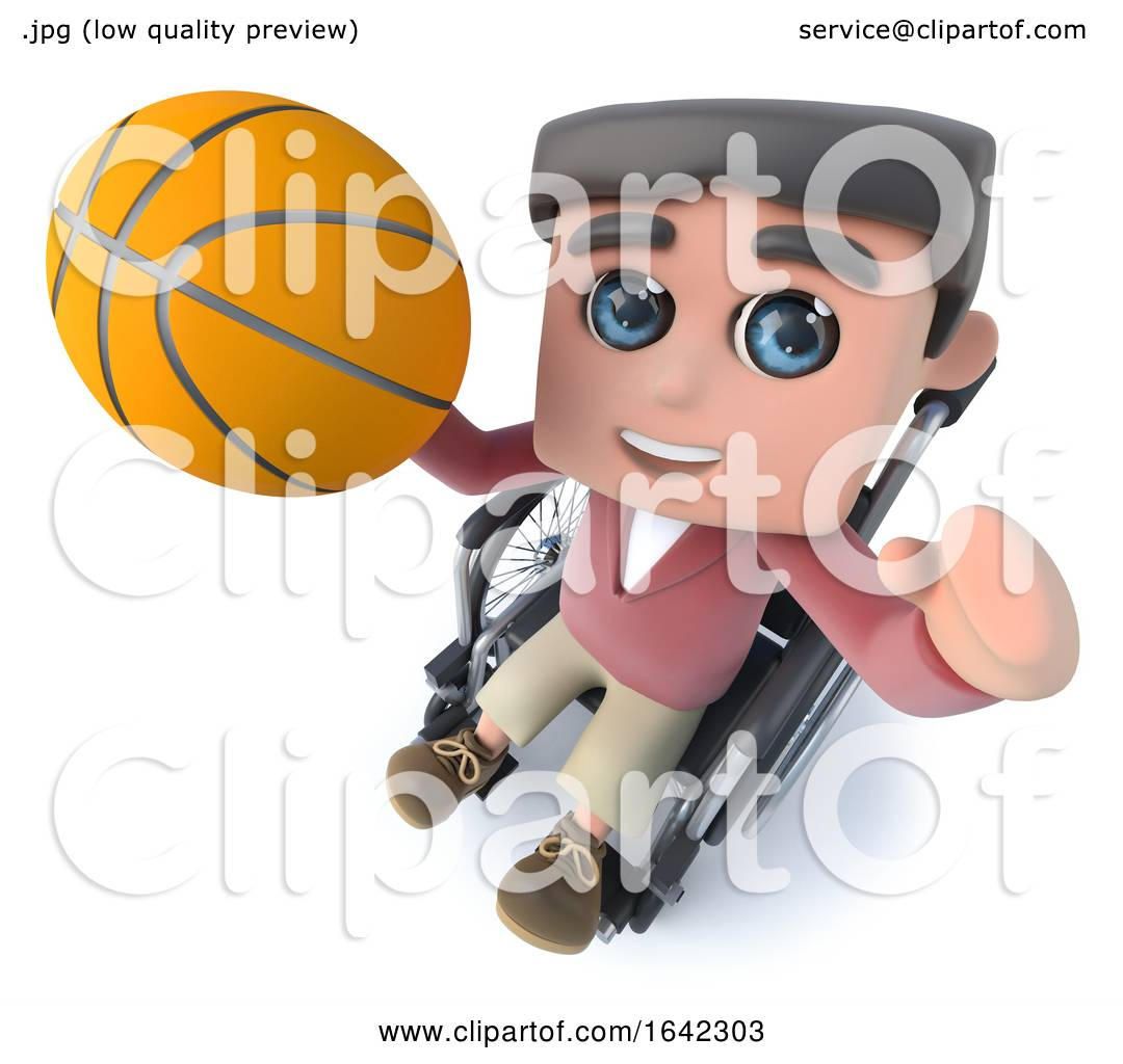 3d Funny Cartoon Teenager In A Wheelchair Character Playing Basketball By Steve Young 1642303