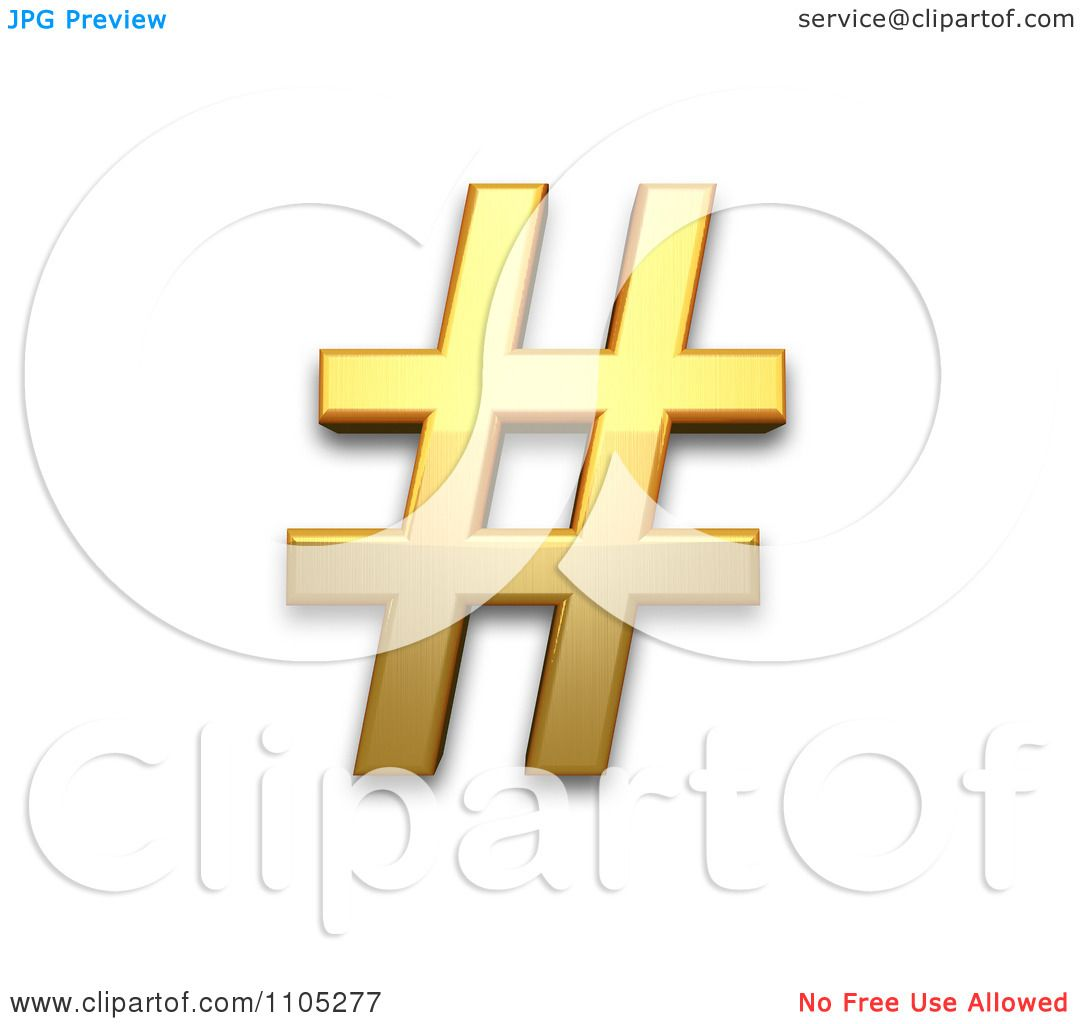 3d Gold Number Sign Clipart Royalty Free Vector