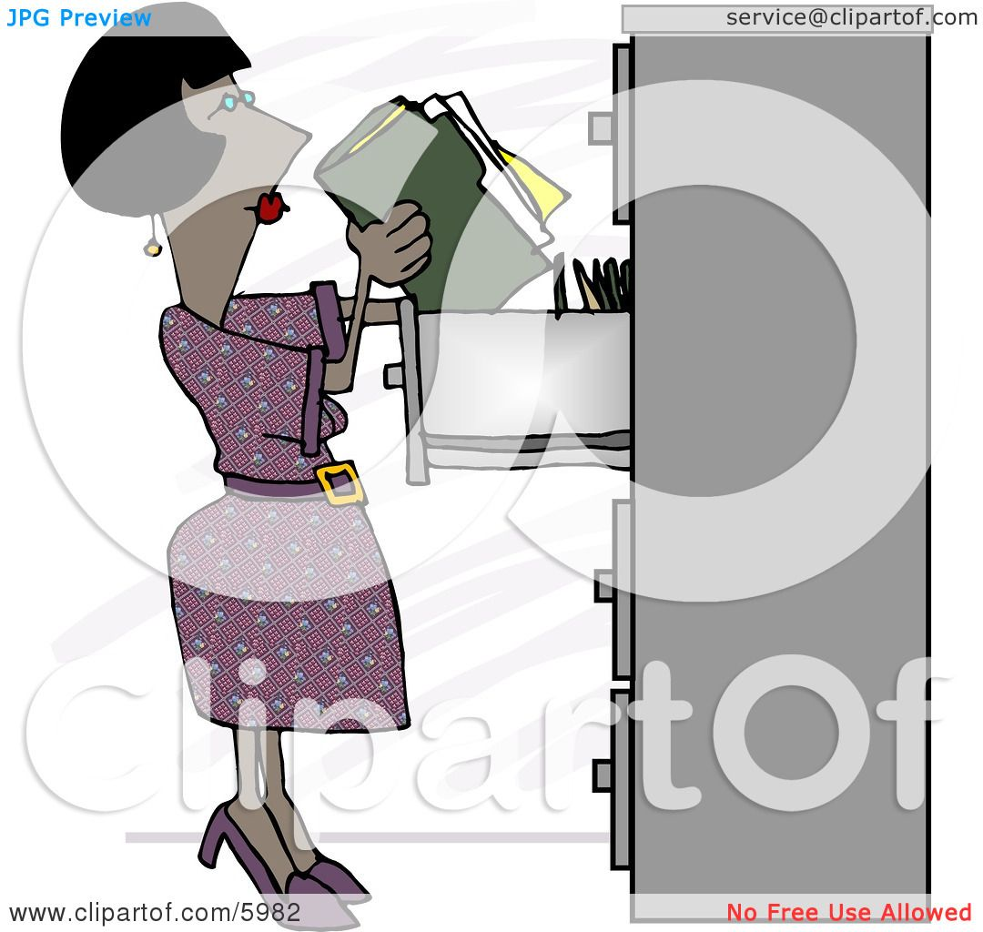 File Cabinet Clip Art: African American Female Clerk Putting Documents Into A
