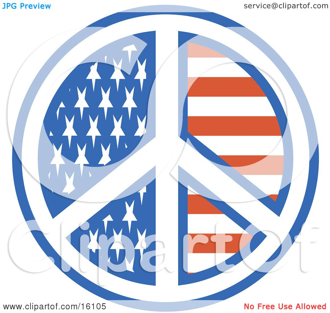 American Peace Symbol With Stars And Stripes Clipart Illustration ...
