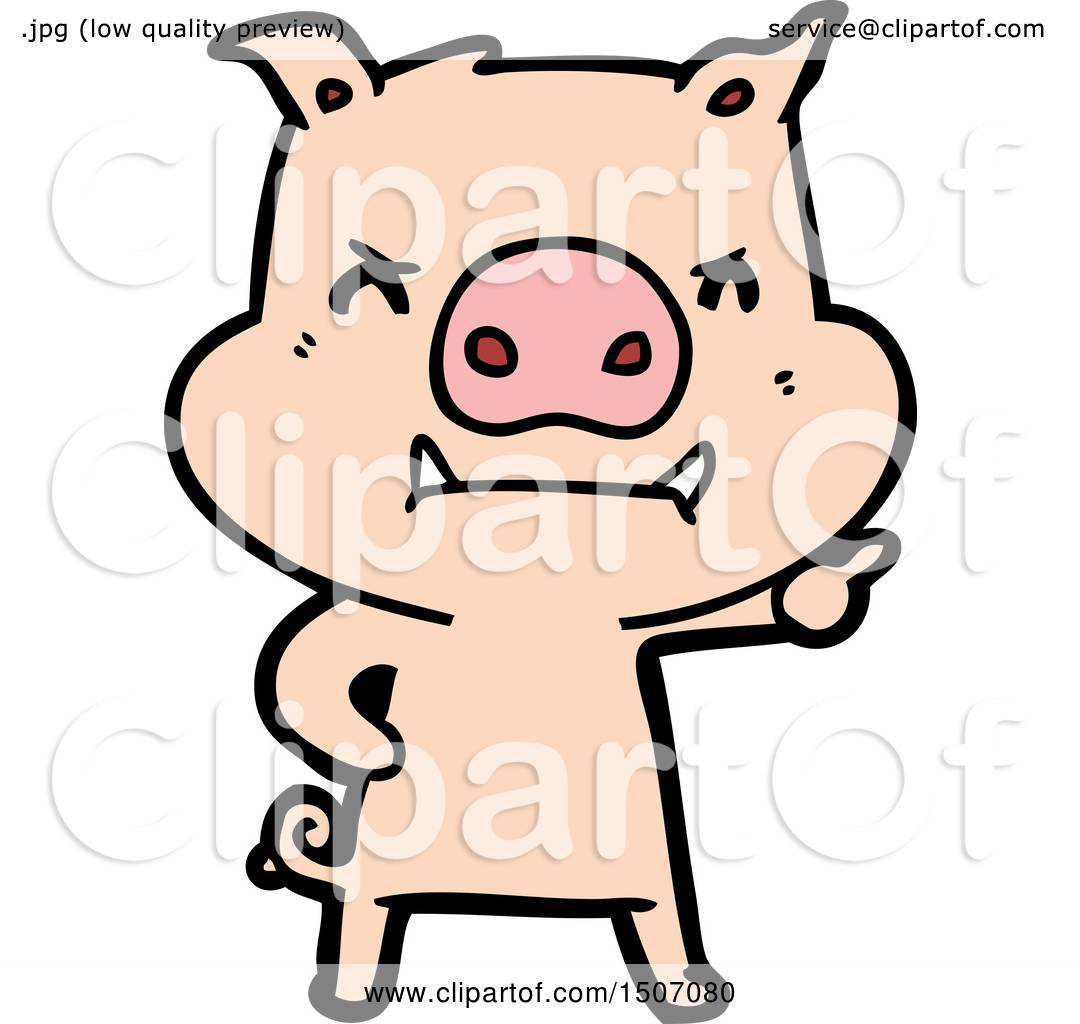Angry Animal Clipart Cartoon Pig by lineartestpilot #1507080