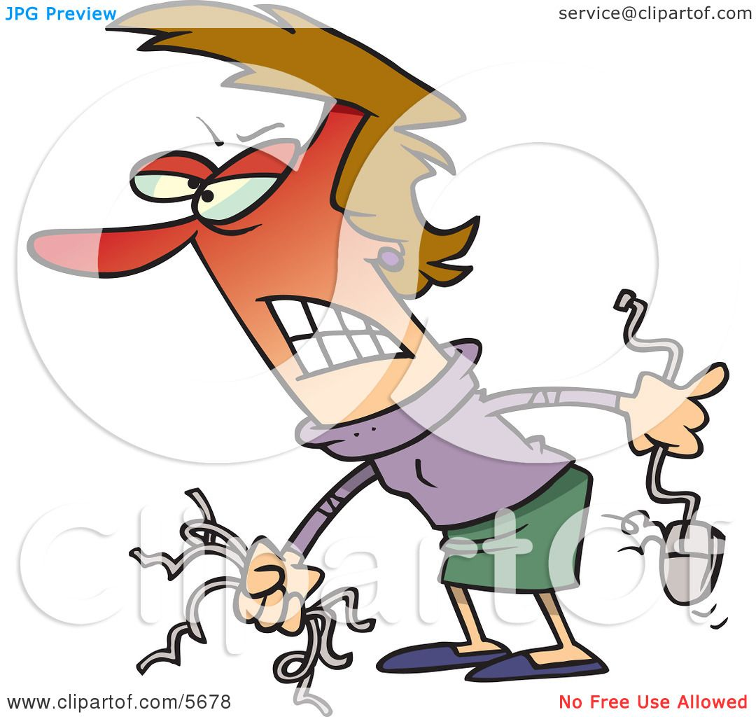 Angry Woman Holding Computer Wires and a Mouse Clipart ...