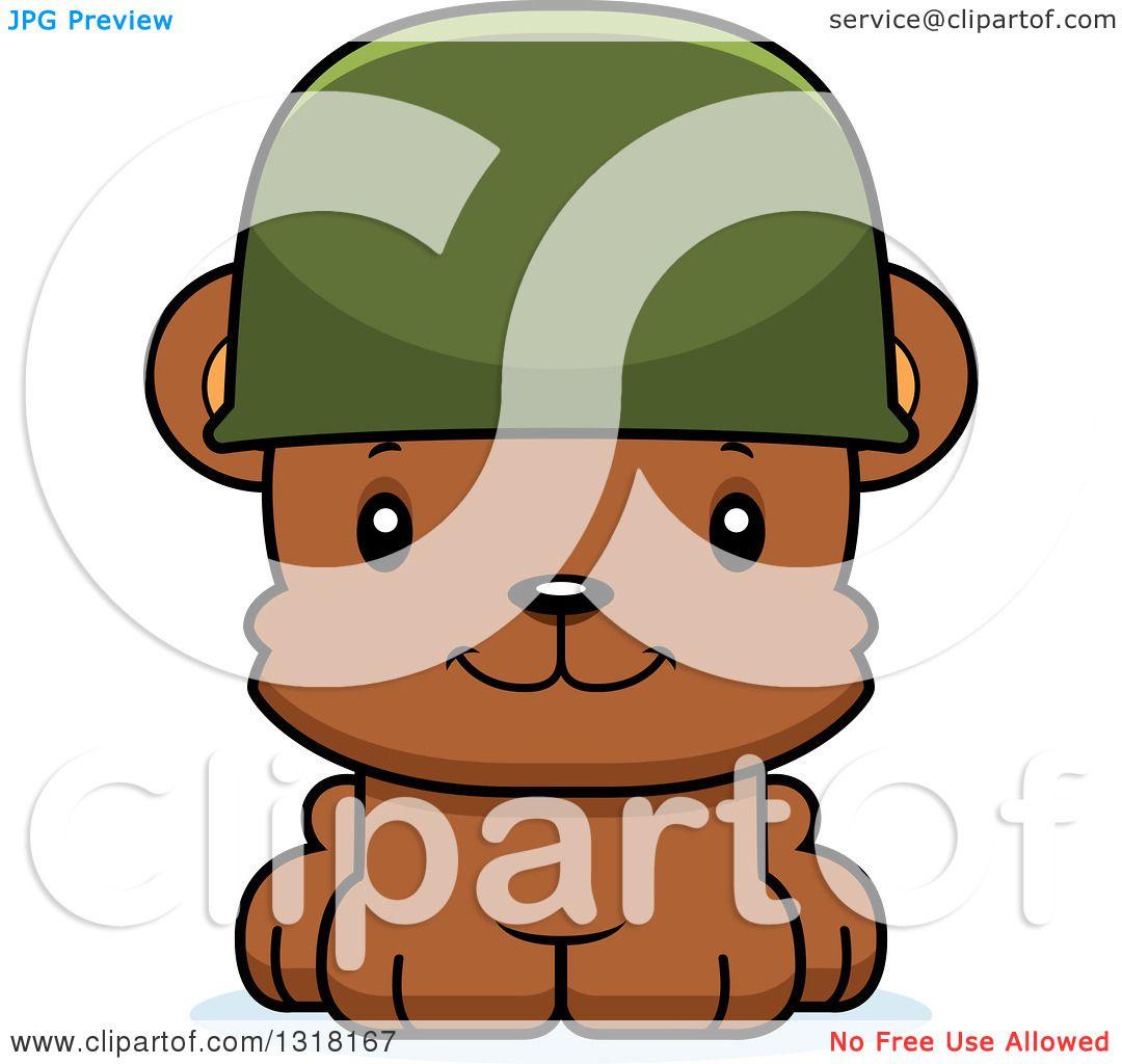 Animal Clipart of a Cartoon Cute Happy Army Soldier Bear Cub ...