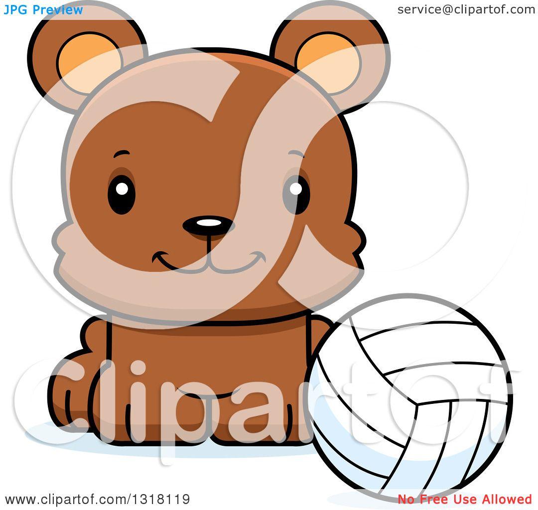 Animal Clipart of a Cartoon Cute Happy Bear Cub Sitting with a ...