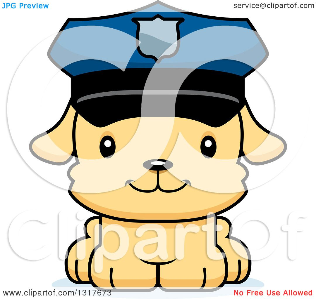 animal clipart of a cartoon cute happy puppy dog police officer