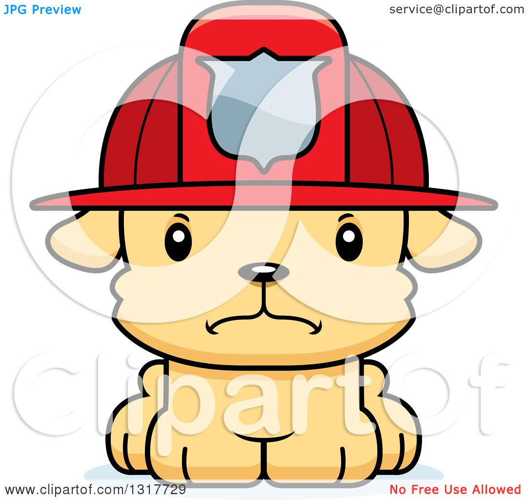Animal Clipart of a Cartoon Cute Mad Puppy Dog Fireman ...
