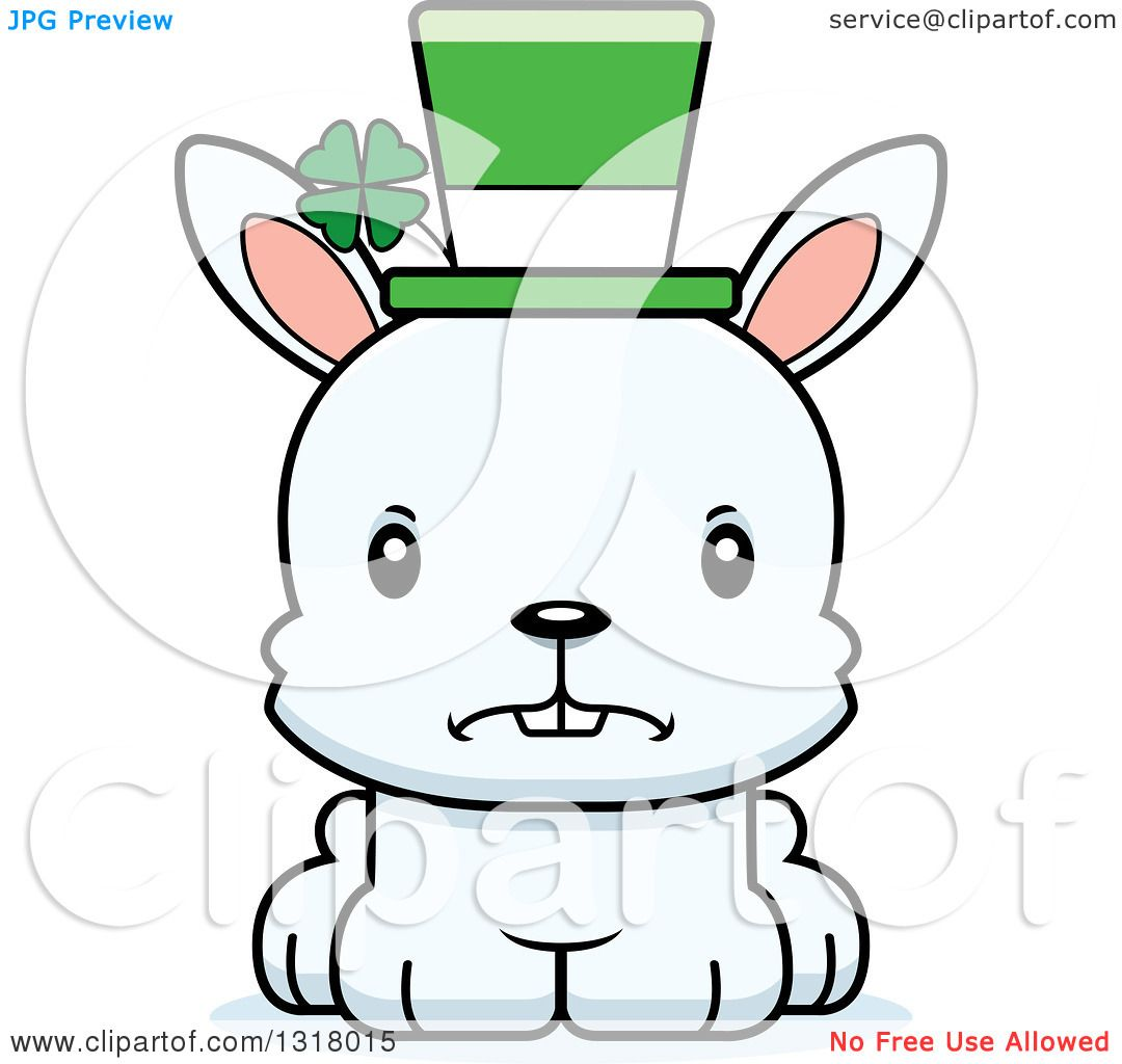 Animal Clipart of a Cartoon Cute Mad White St Patricks Day ...