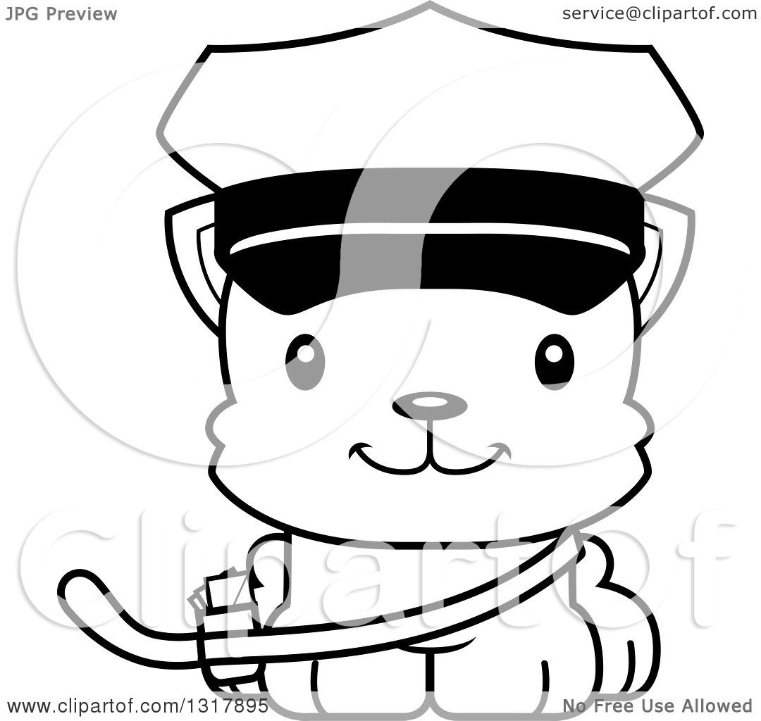 Animal Lineart Clipart of a Cartoon Black and White Cute ...