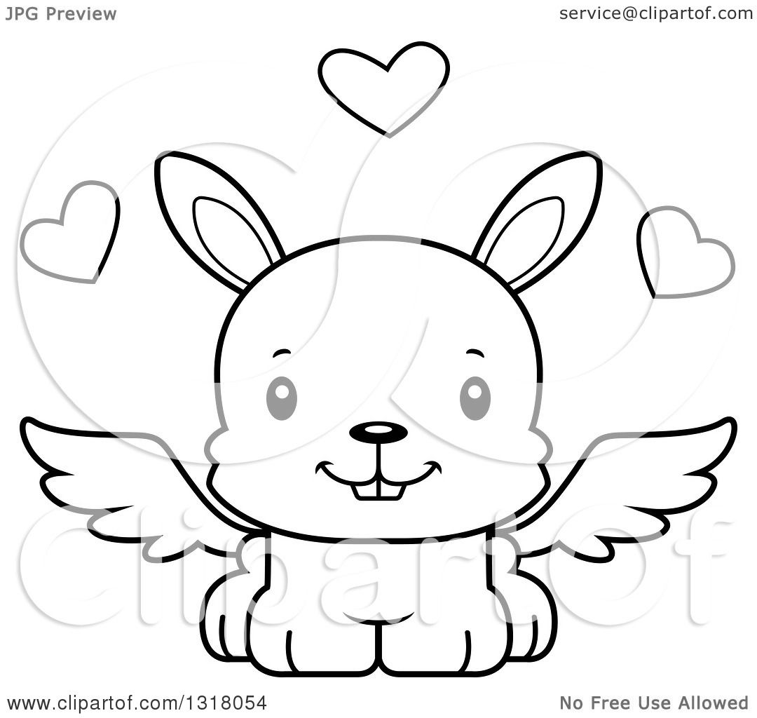 animal lineart clipart of a cartoon black and white cute happy
