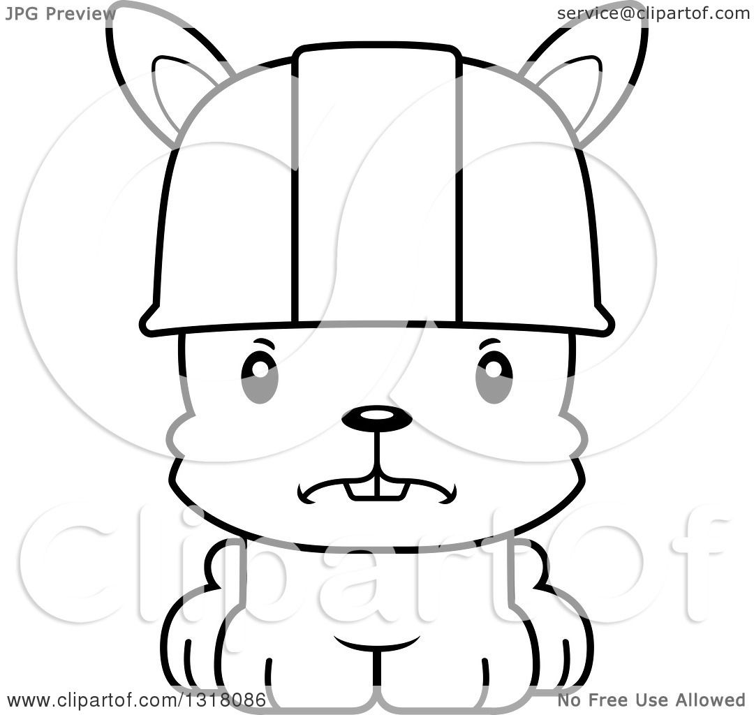 animal lineart clipart of a cartoon black and white cute mad