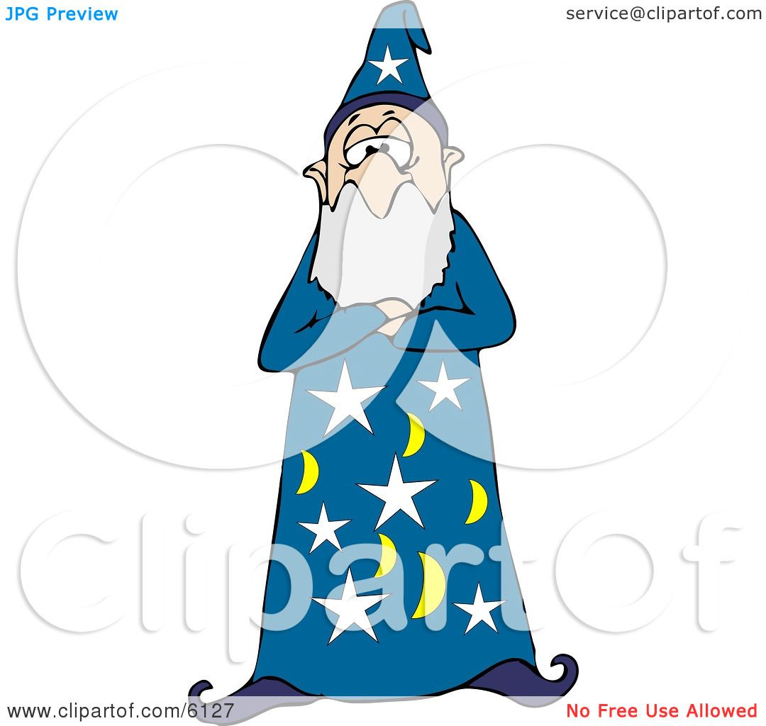 bearded wizard man in a star and moon patterned hat and gown