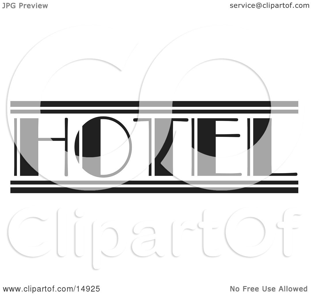Black And White Hotel Sign Clipart Illustration By Andy Nortnik