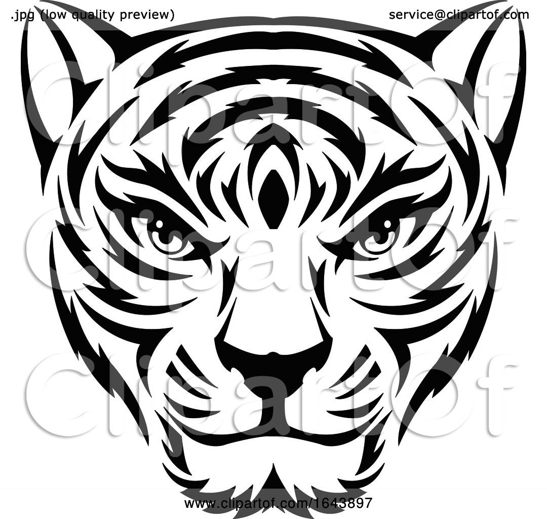 Black and White Tiger Face Tattoo Design by Morphart