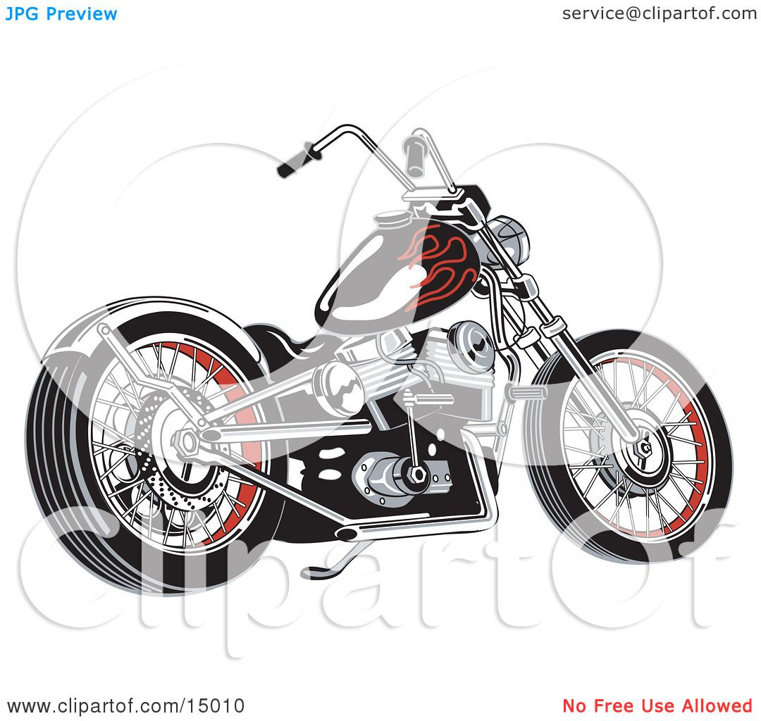 Black motorcycle with red flame paint accents clipart illustration by
