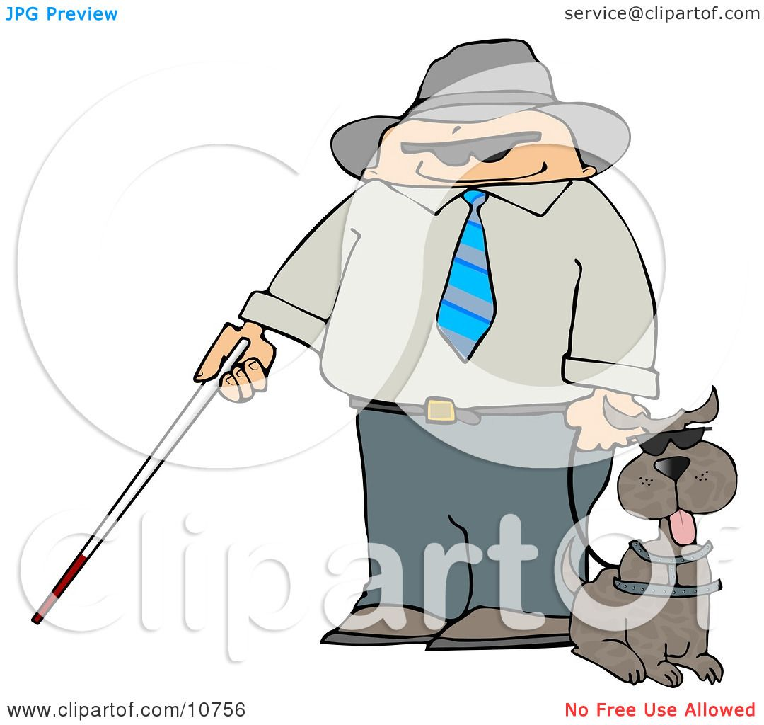 Blind Man With a Cane and Guide Dog Clipart Illustration by Dennis ...
