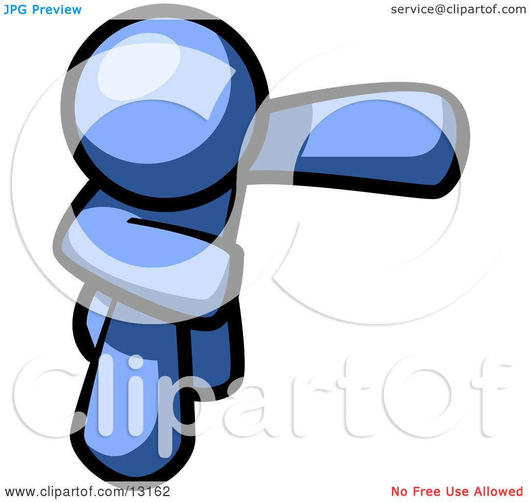 Blue Man Bowing Clipart Illustration by Leo Blanchette #13162