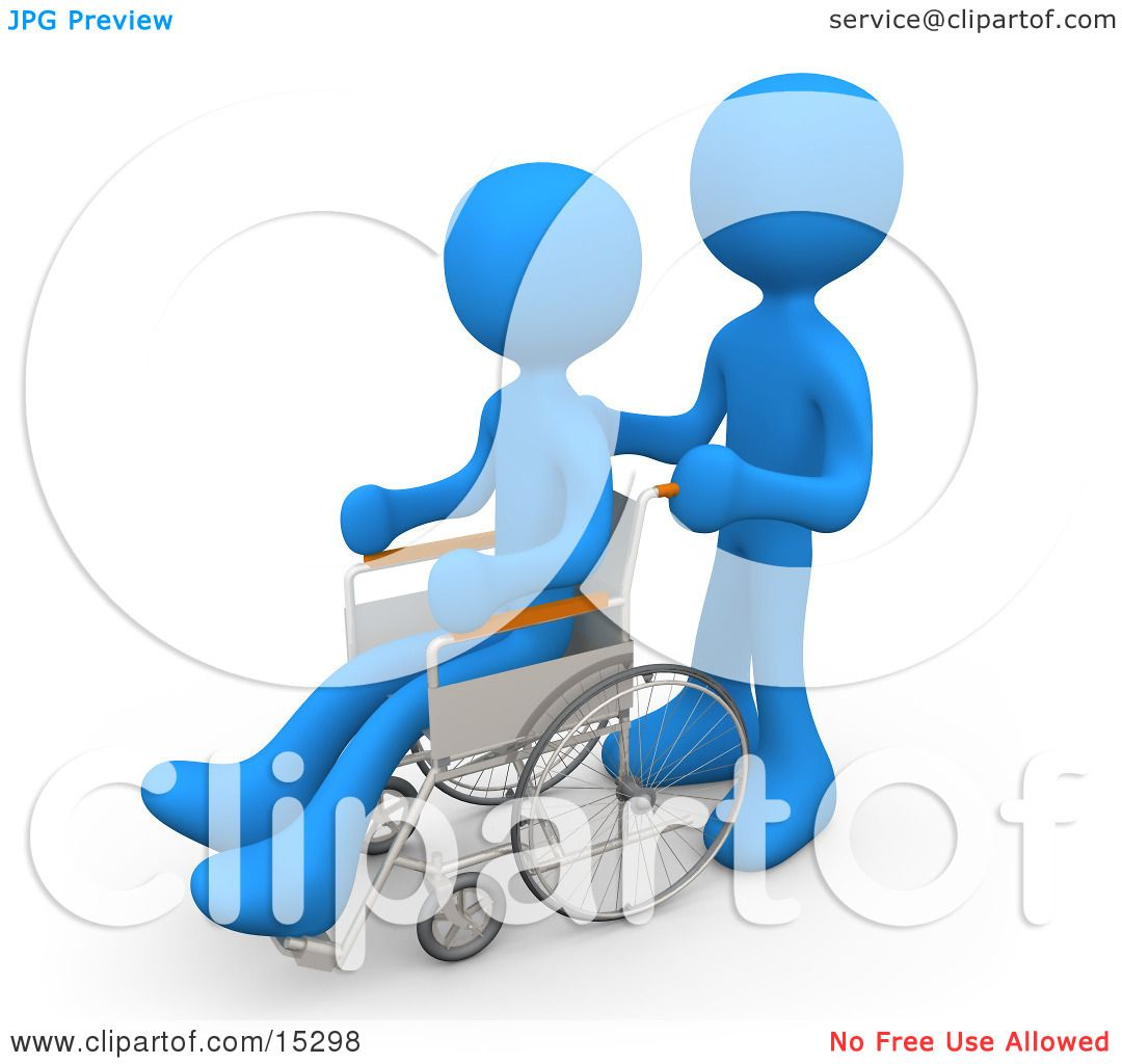 Blue Person Pushing Another Person In A Wheelchair In A