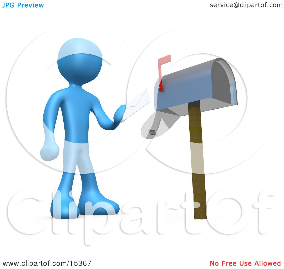 Blue Person Standing In Front Of A Mailbox With The Red Flag Up