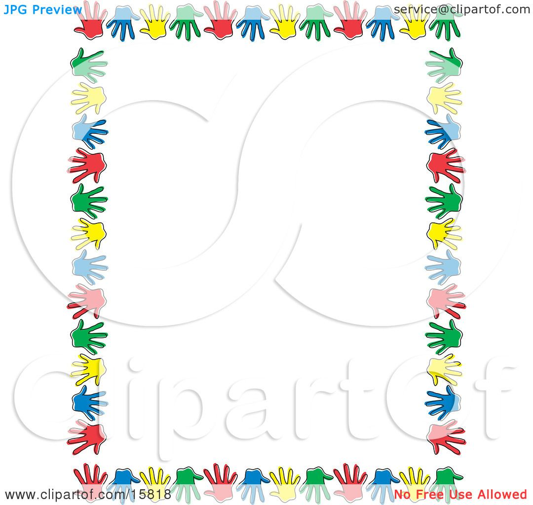 Border Of Colorful Hand Prints Over White Clipart