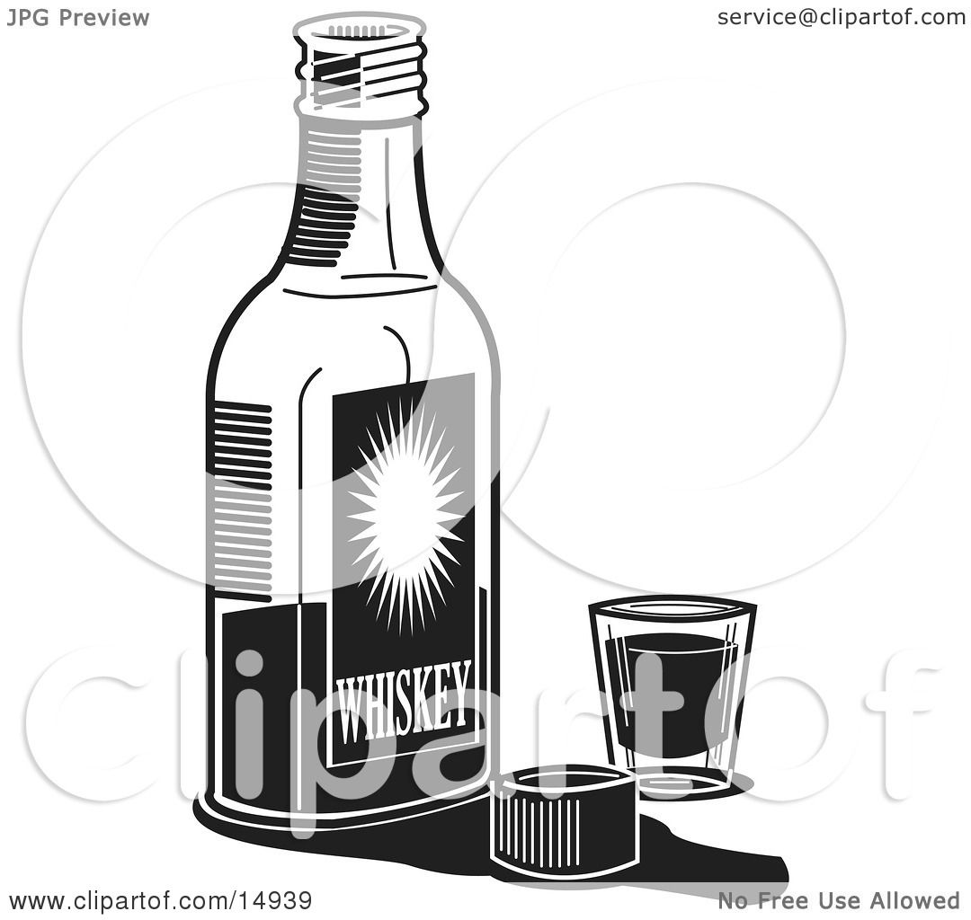 Bottle Of Whiskey By A Shot Glass In A Bar Clipart