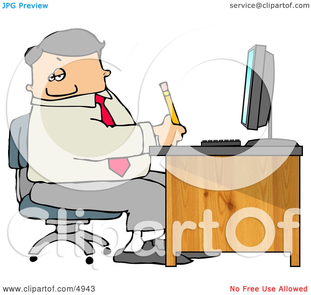 Business Man Filling Out Paperwork At Wood Computer Desk