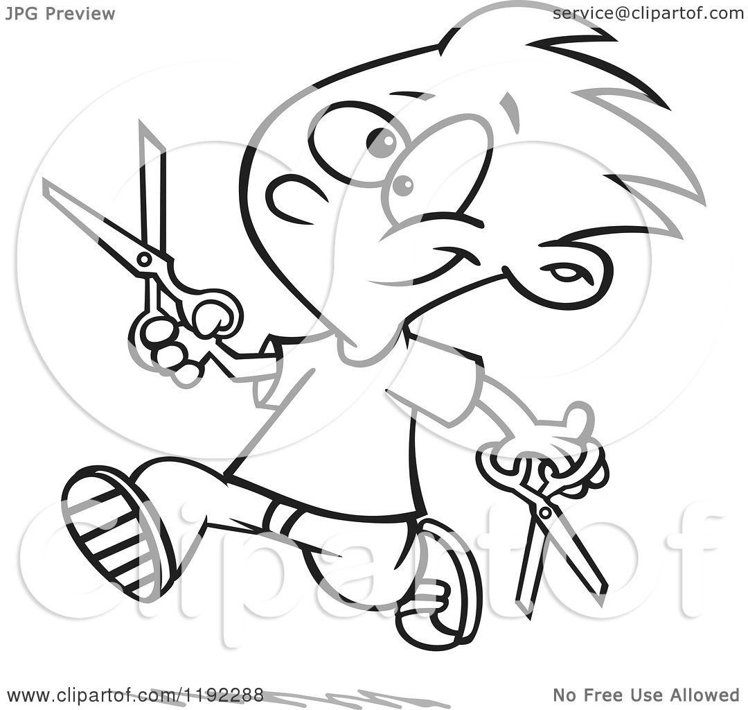 Cartoon Black and White Line Art of a Happy Boy ...