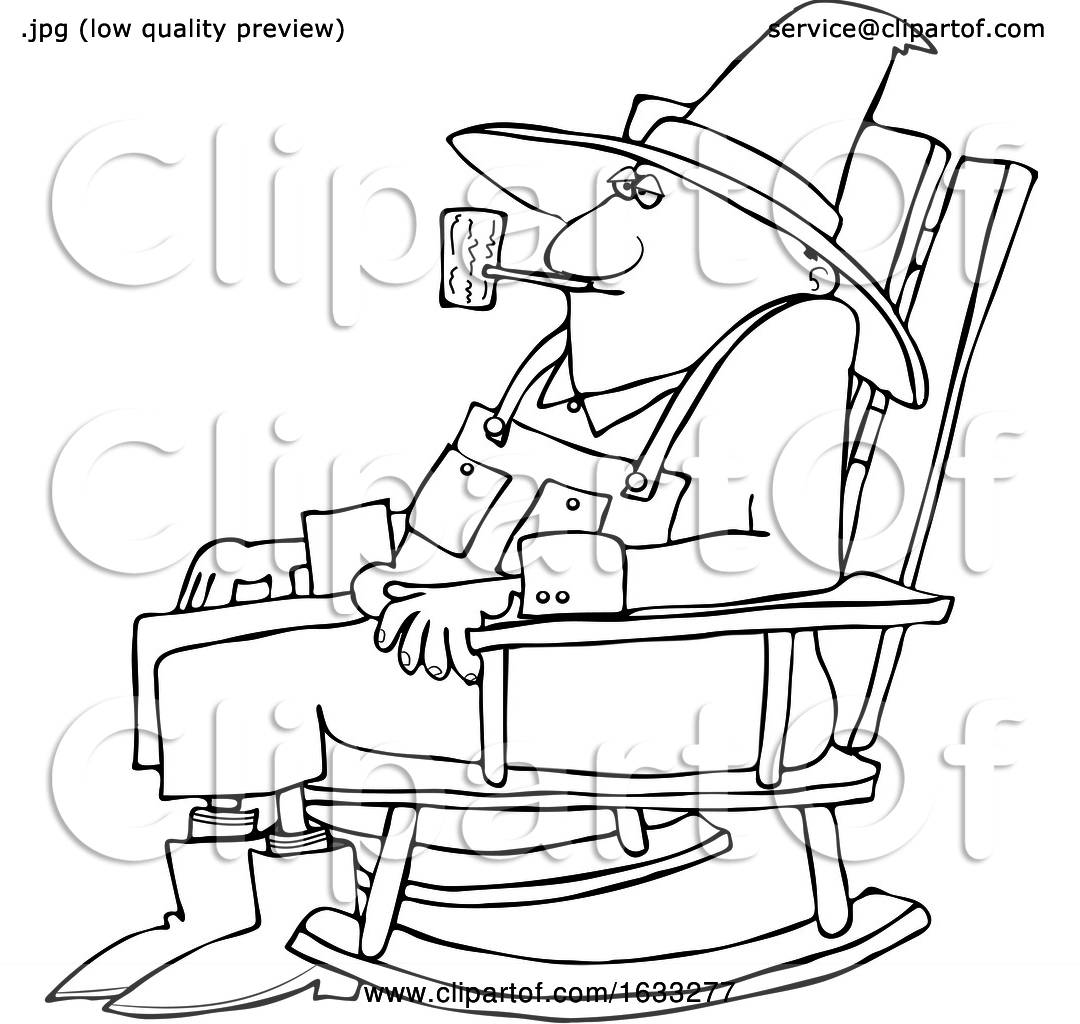 Picture of: Cartoon Black And White Senior Man Smoking A Pipe And Sitting In A Rocking Chair By Djart 1633277
