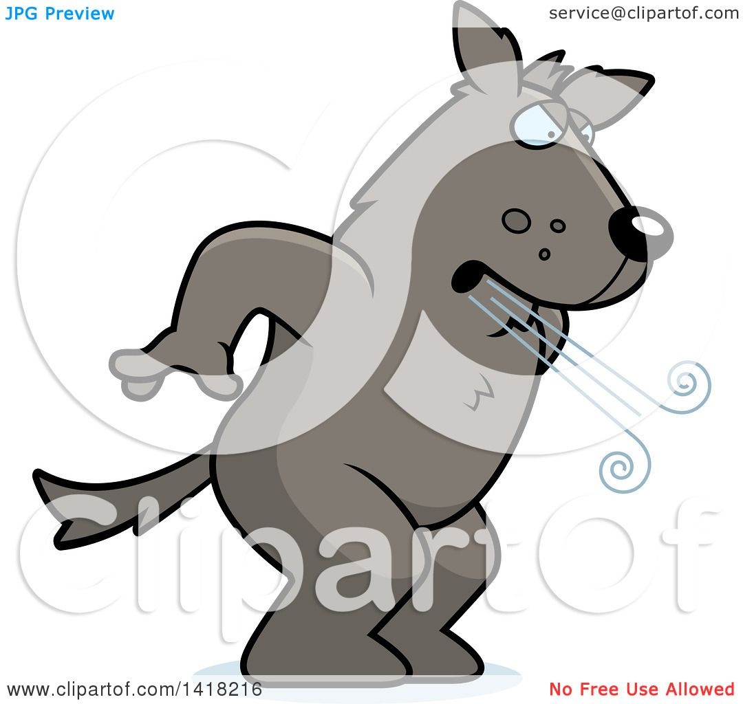 cartoon clipart of a big bad wolf huffing and puffing royalty free rh clipartof com