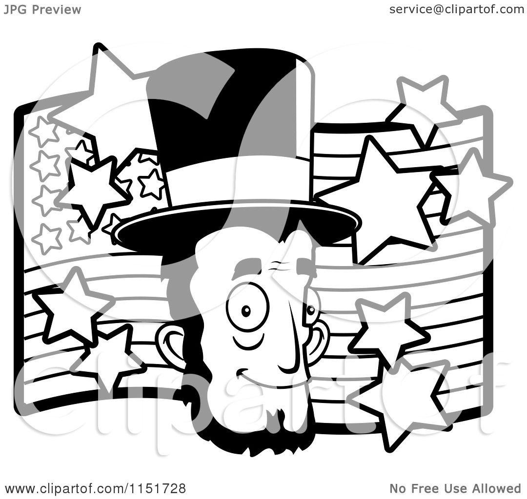 cartoon clipart of a black and white abe lincoln u0027s face over an