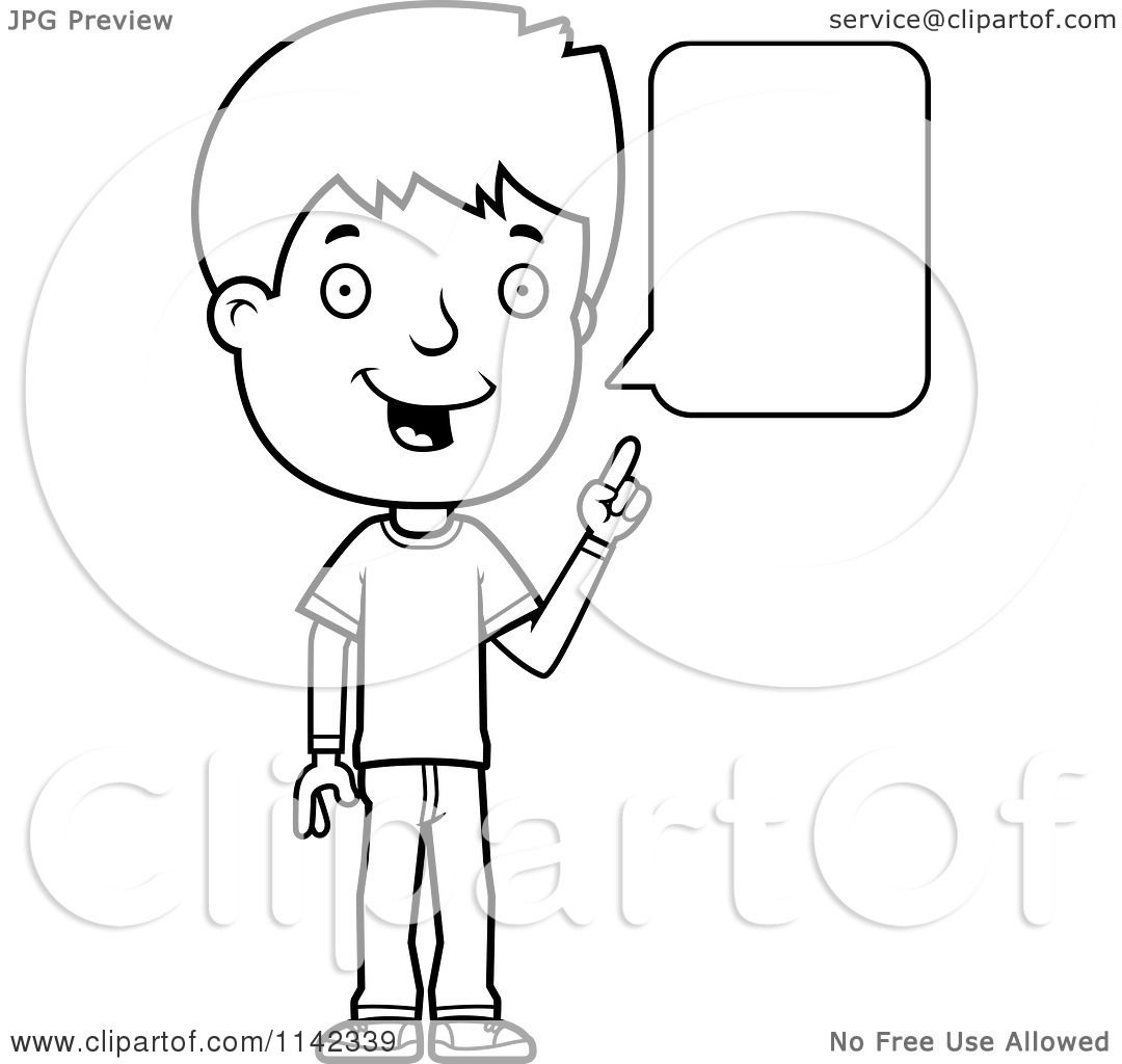 cartoon clipart of a black and white adolescent teenage boy talking vector outlined coloring page by cory thoman - Coloring Pages Teenagers Boys