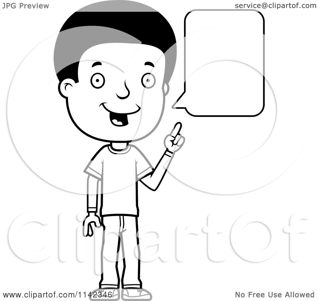 Cartoon Clipart Of A Black And White Adolescent Teenage Boy Talking ...
