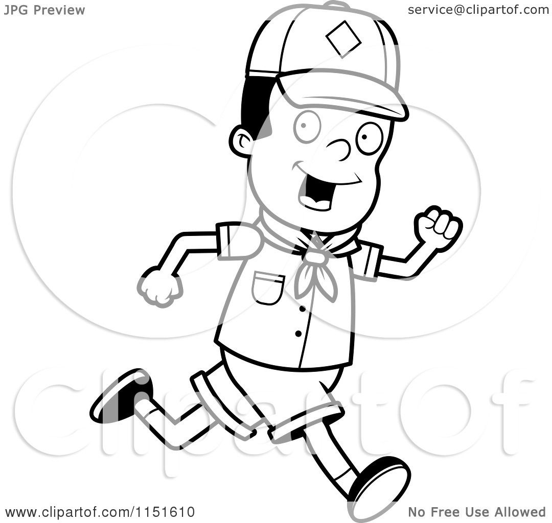 Cartoon Clipart Of A Black And White African American Cub Scout