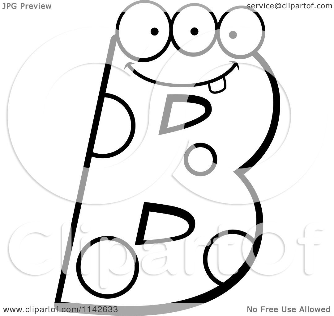cartoon clipart of a black and white alien letter b vector