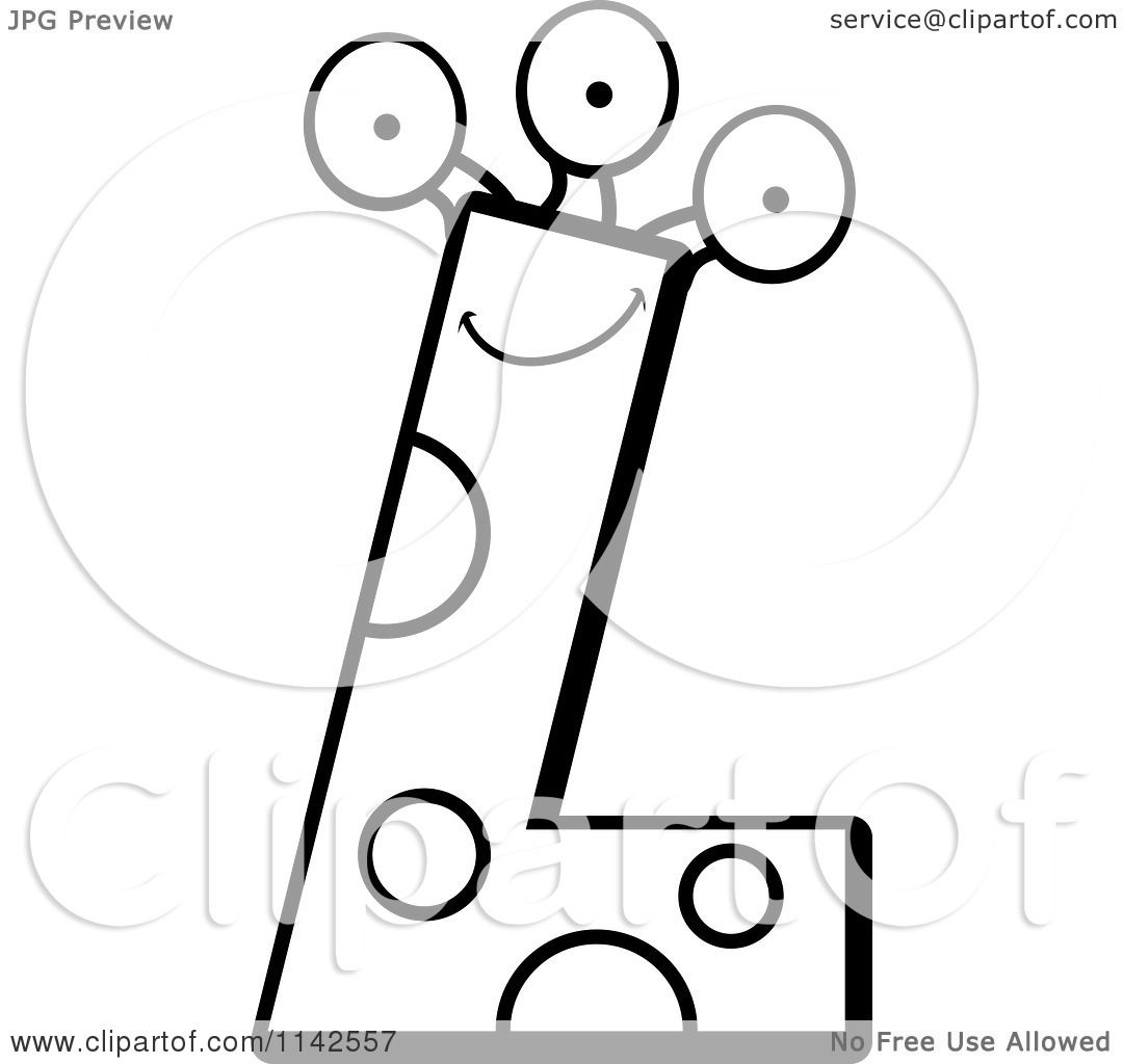 Letter l coloring pages - Cartoon Clipart Of A Black And White Alien Letter L Vector Outlined Coloring Page By Cory Thoman
