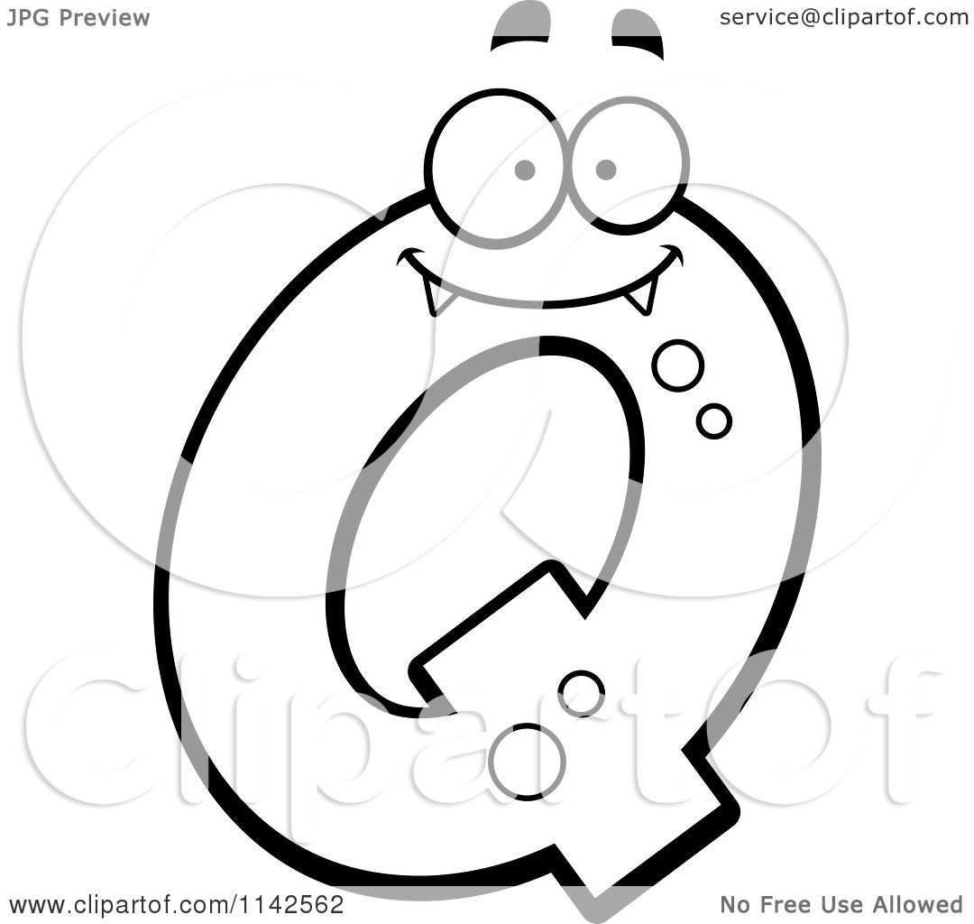 Free coloring pages letter q - Cartoon Clipart Of A Black And White Alien Letter Q Vector Outlined Coloring Page By Cory Thoman