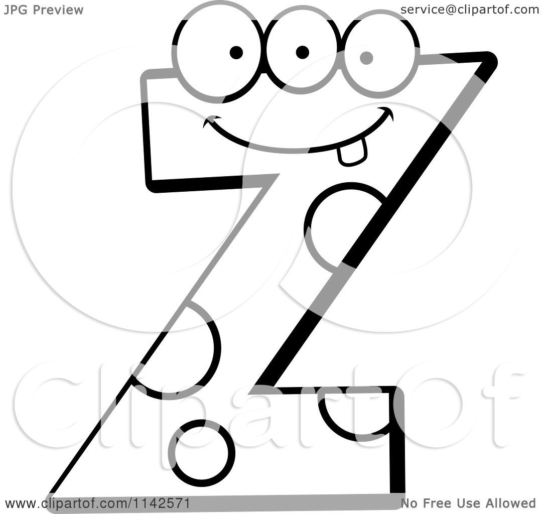 Letter z coloring pages - Cartoon Clipart Of A Black And White Alien Letter Z Vector Outlined Coloring Page By Cory Thoman