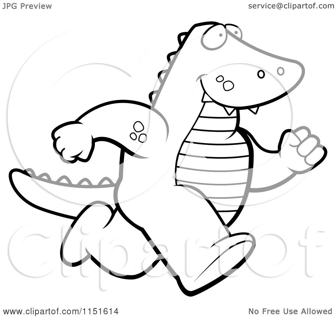 cartoon clipart of a black and white alligator running upright vector outlined coloring page by cory thoman