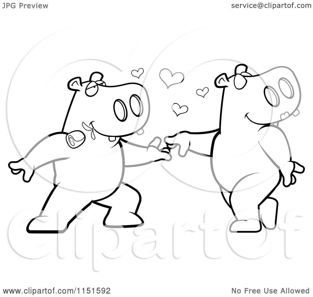 cartoon clipart of a black and white amorous hippo character