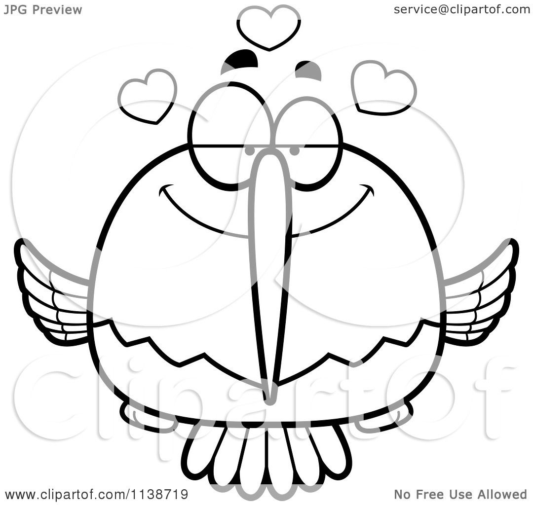 cartoon clipart of a black and white amorous hummingbird vector