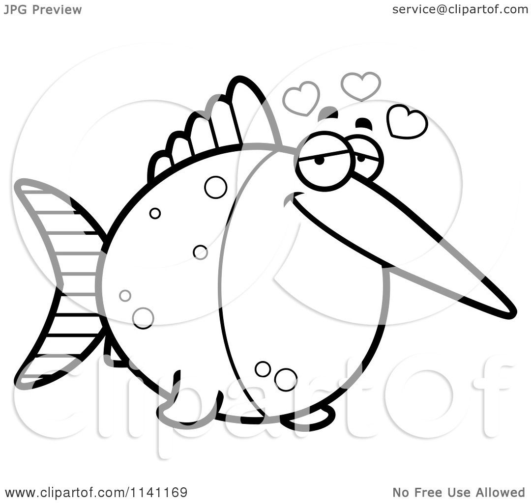 Cartoon Clipart Of A Black And White Amorous Swordfish - Vector ...