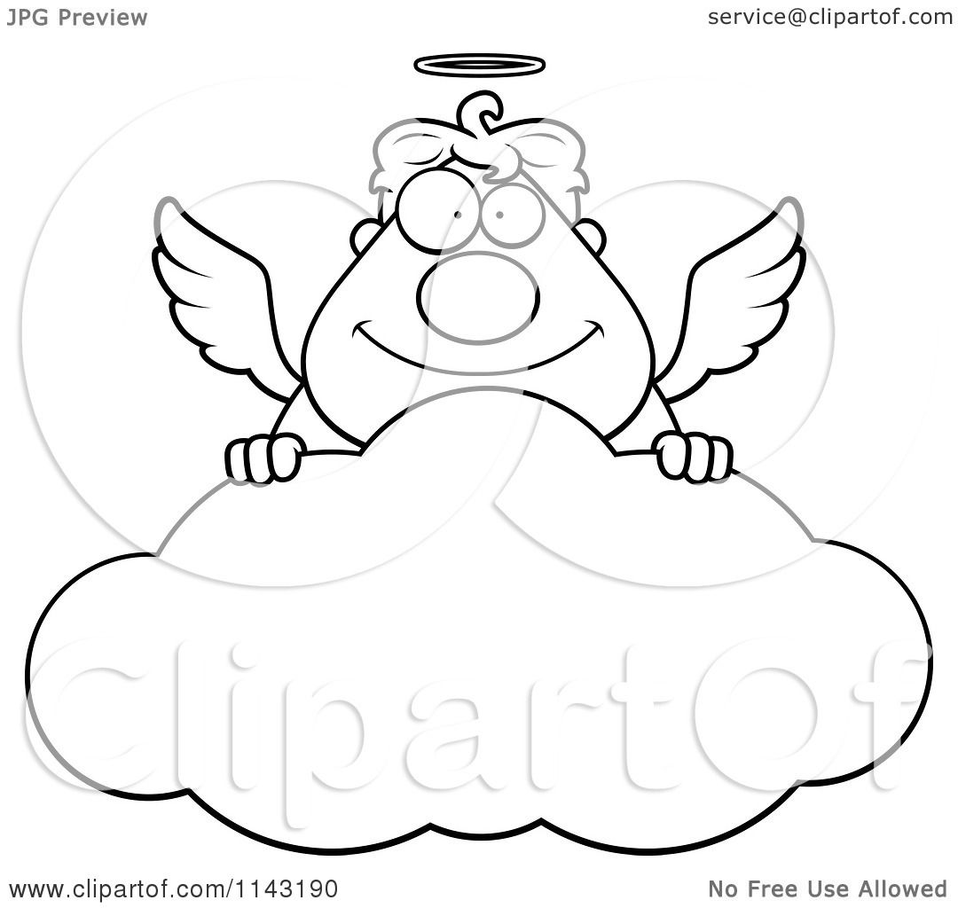 cartoon clipart of a black and white angel over a cloud vector