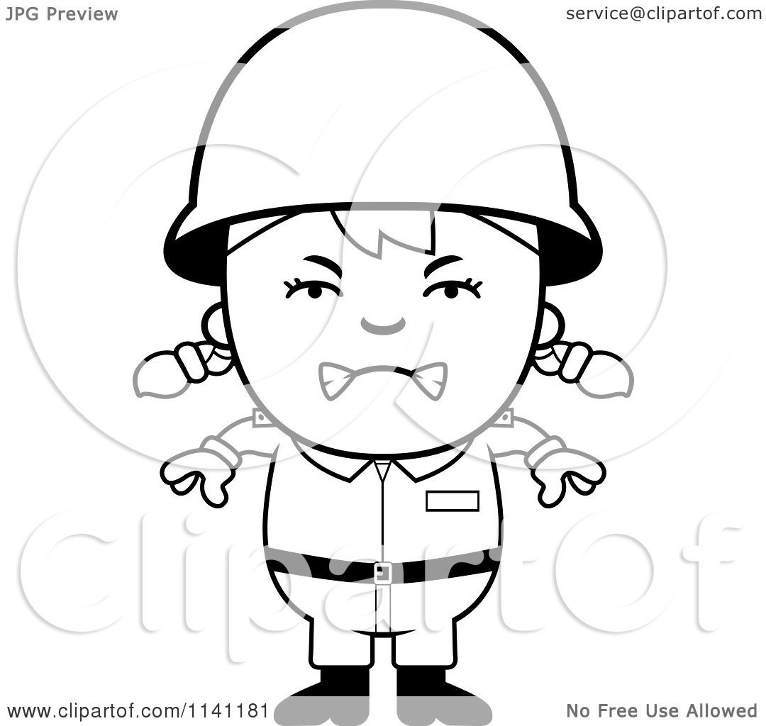 cartoon clipart of a black and white angry army vector