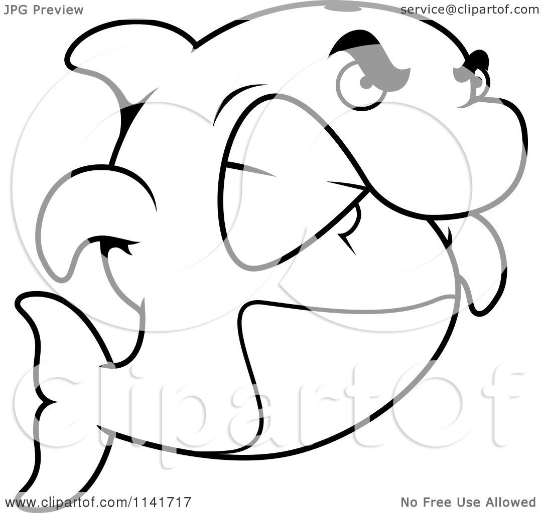 cartoon clipart of a black and white angry dolphin gritting his