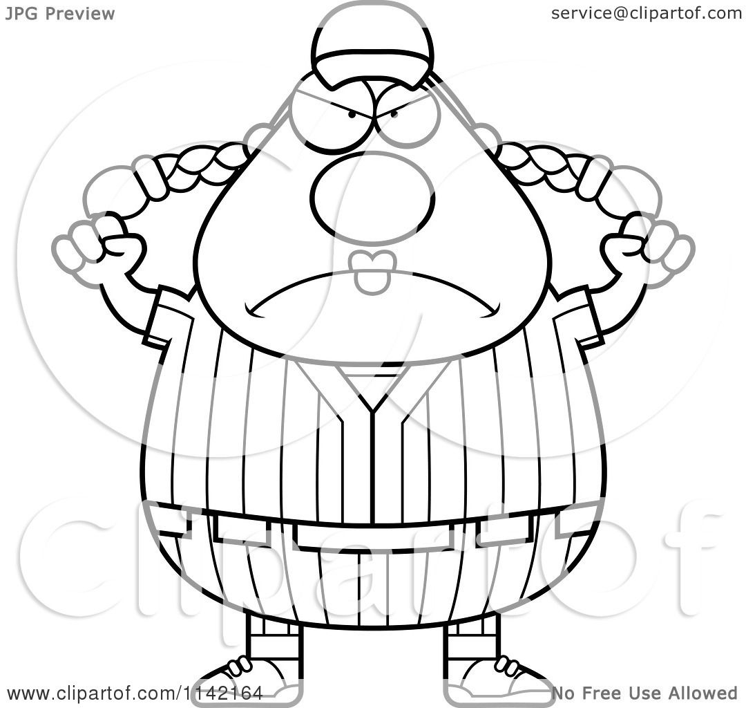 cartoon clipart of a black and white angry female baseball player