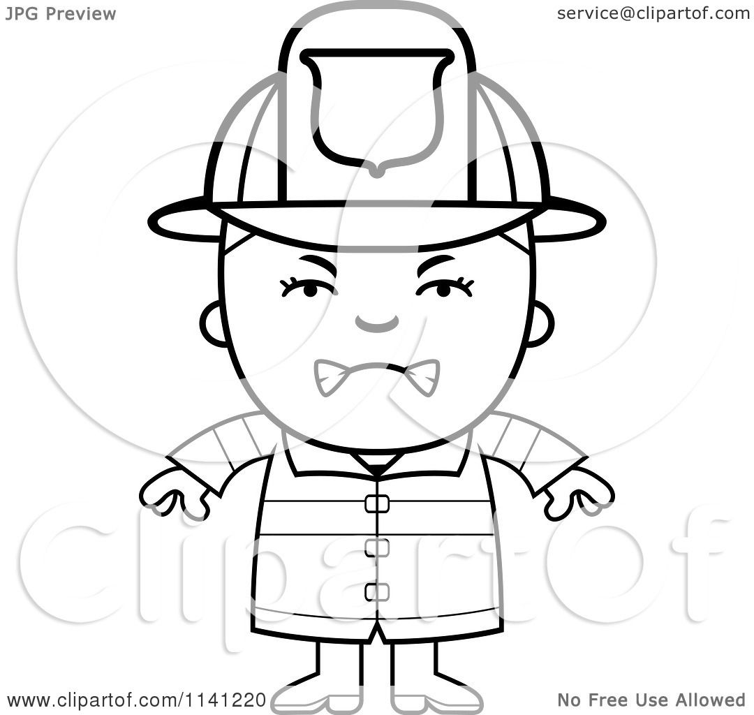 cartoon clipart of a black and white angry fire fighter boy