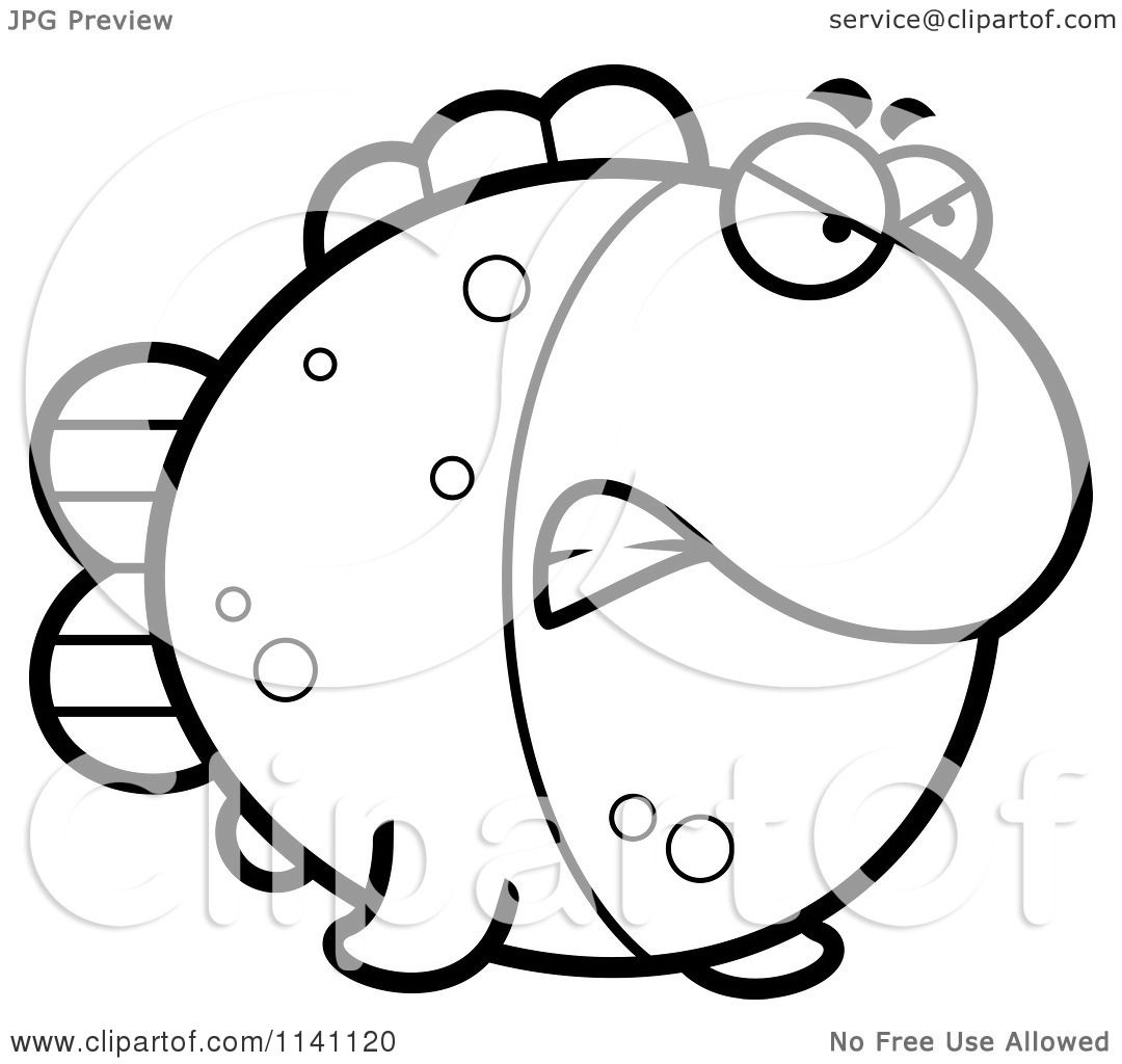 cartoon clipart of a black and white angry fish vector outlined