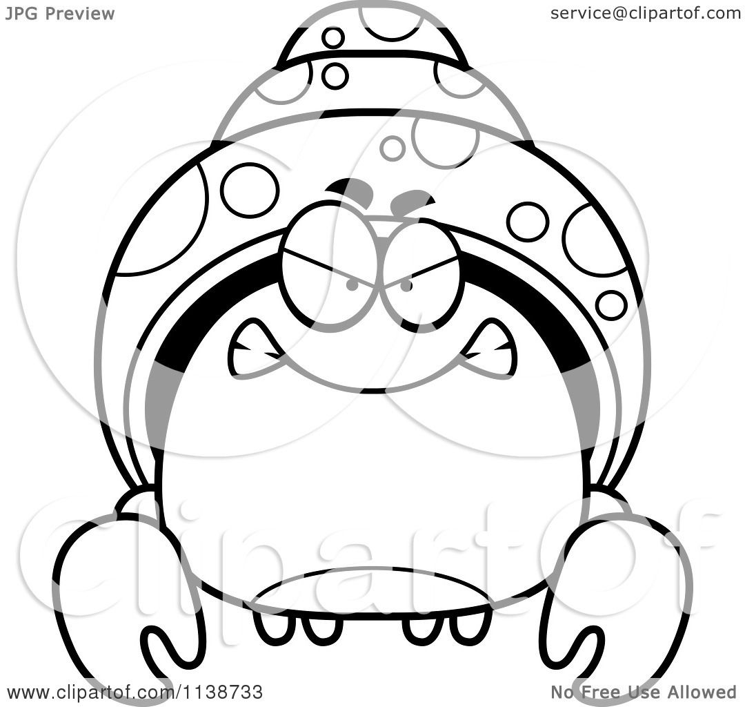 Cartoon Clipart Of A Black And White Angry Hermit Crab ...